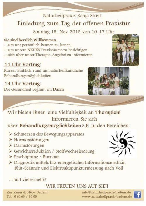 Naturheilpraxis Sonja Streit – Einladung zum Tag der offenen Praxistür