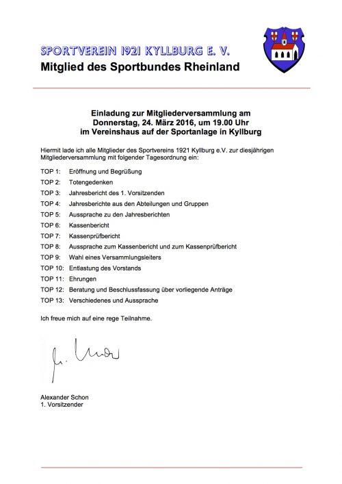 Einladung zur Mitgliederversammlung 2016