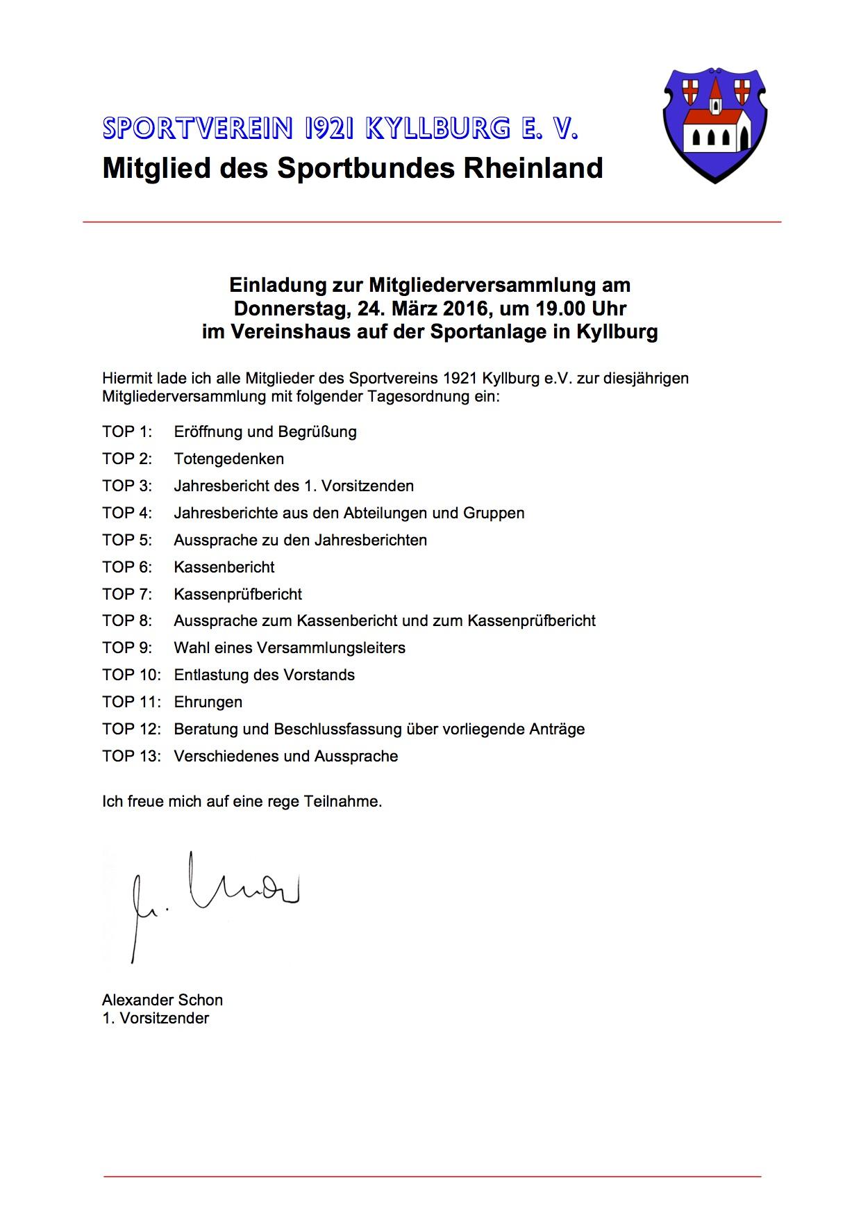 einladung zur mitgliederversammlung 2016 | sportverein kyllburg, Einladung