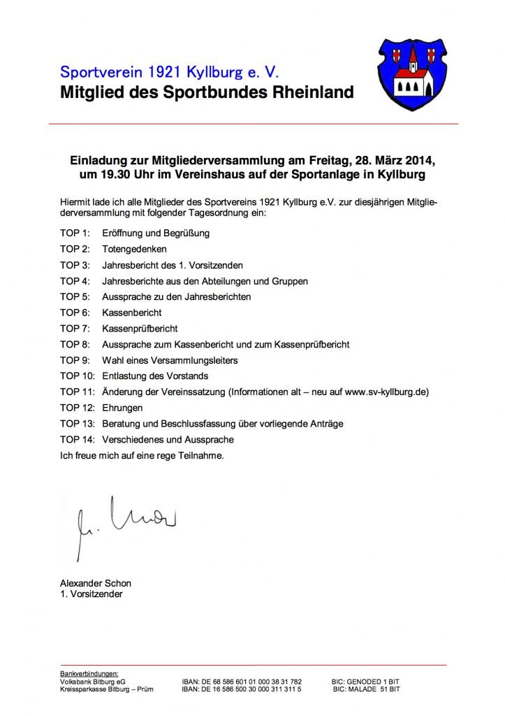 Mitgliederversammlung 28.03.2014