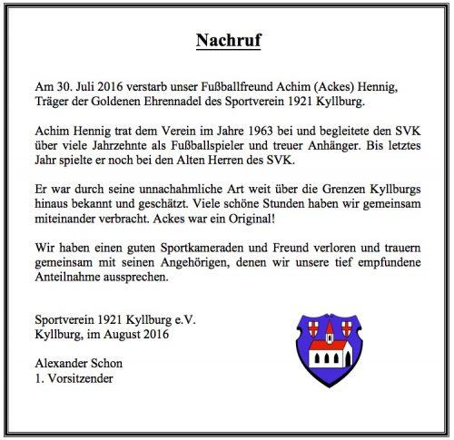 Nachruf Achim Hennig