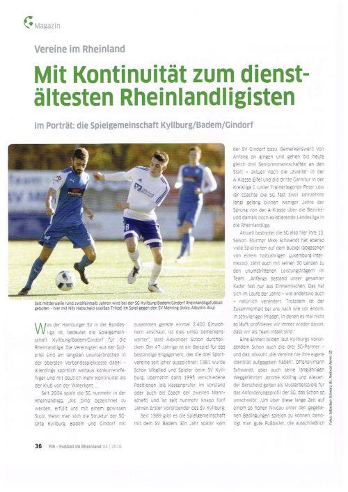 Portrait unserer SG im Verbandsmagazin des Fußballverbandes Rheinland