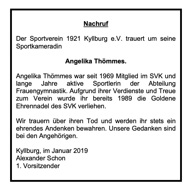 SVK trauert um Angelika Thömmes