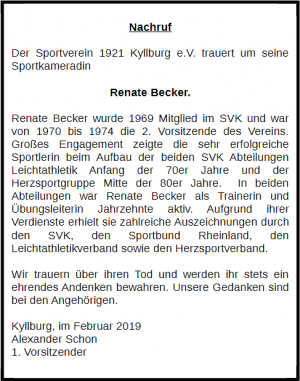 Nachruf Renate Becker
