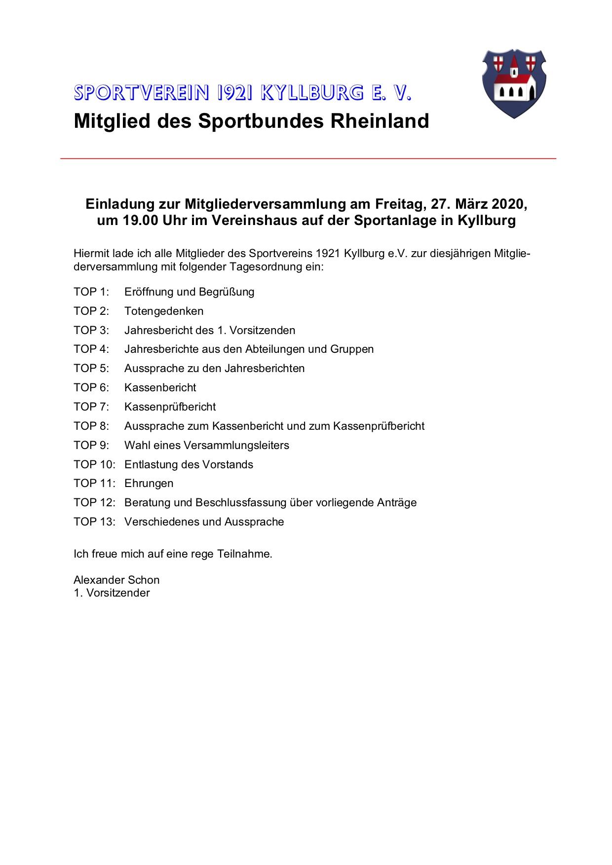 Einladung zur Mitgliederversammlung